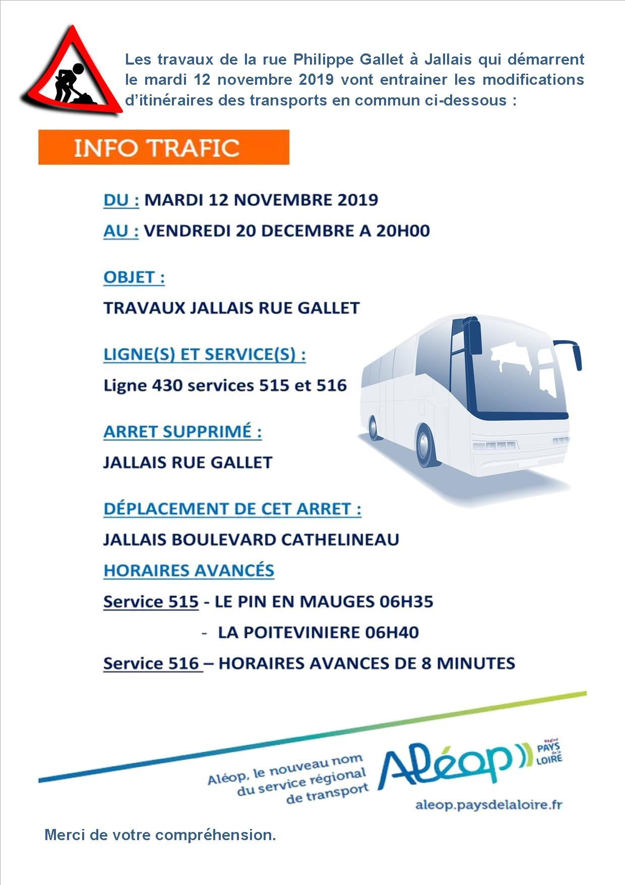 Modifications horaires car Aleop suite aux travaux de Jallais